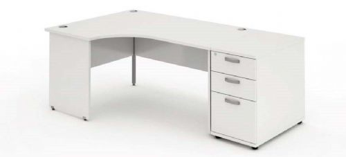 Panelled End Leg|Radial/Crescent Desk|1600mm|800mm Pedestal. Available in Various Top Colours